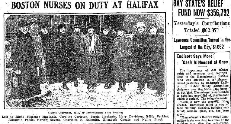 The Boston Daily Globe on Thursday, Dec. 13, 1917, showed Boston nurses working in Halifax and the high totals of Boston's relief fund for that city.